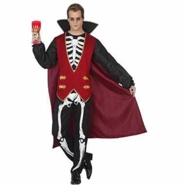 Carnavalspak vampier skelet opdruk