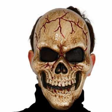 Gebarsten schedel masker skelet pak