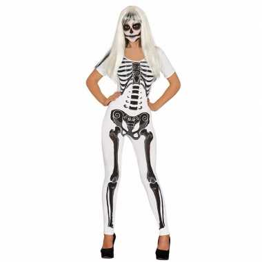 Halloween witte skelet catsuit pak dames