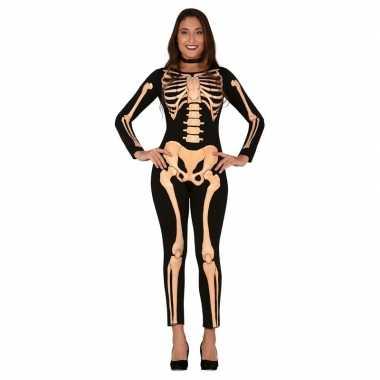 Zwart/oranje skelet verkleed pak dames
