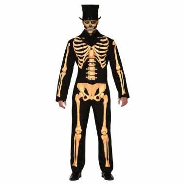 Zwart/oranje skelet verkleed pak heren