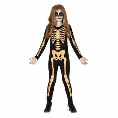 Zwart/oranje skelet verkleedpak kinderen pak