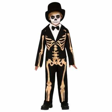 Zwart/oranje skelet verkleedpak kinderen skelettenpak