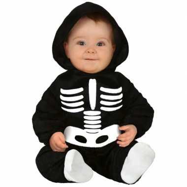 Zwart/wit skelet verkleedpak baby/peuter