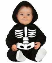 Zwart wit skelet verkleedpak baby peuter